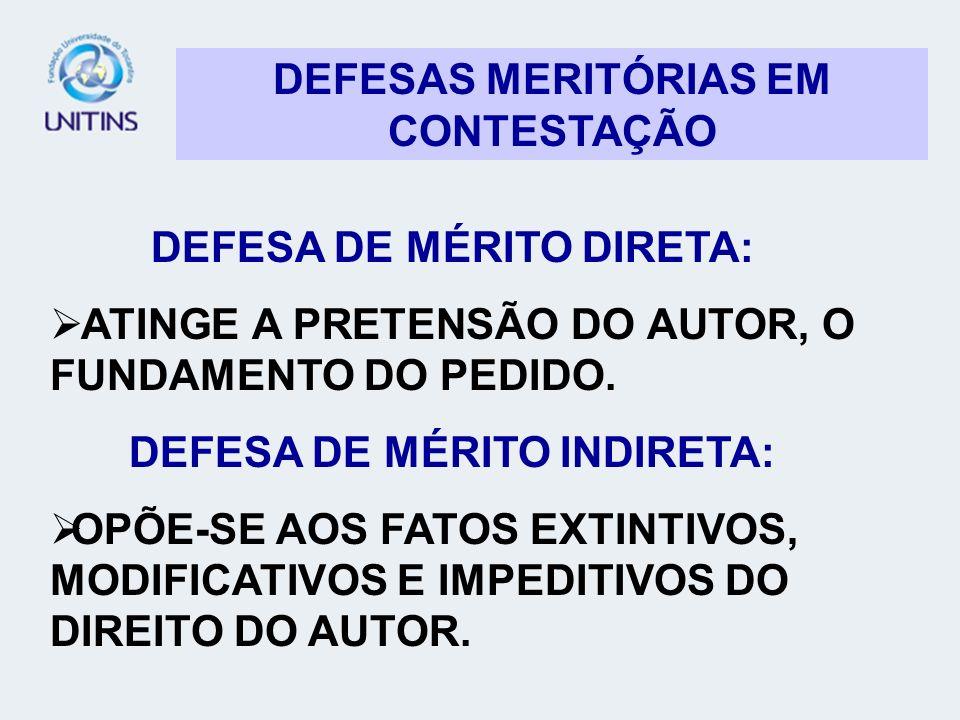 DEFESAS MERITÓRIAS EM CONTESTAÇÃO