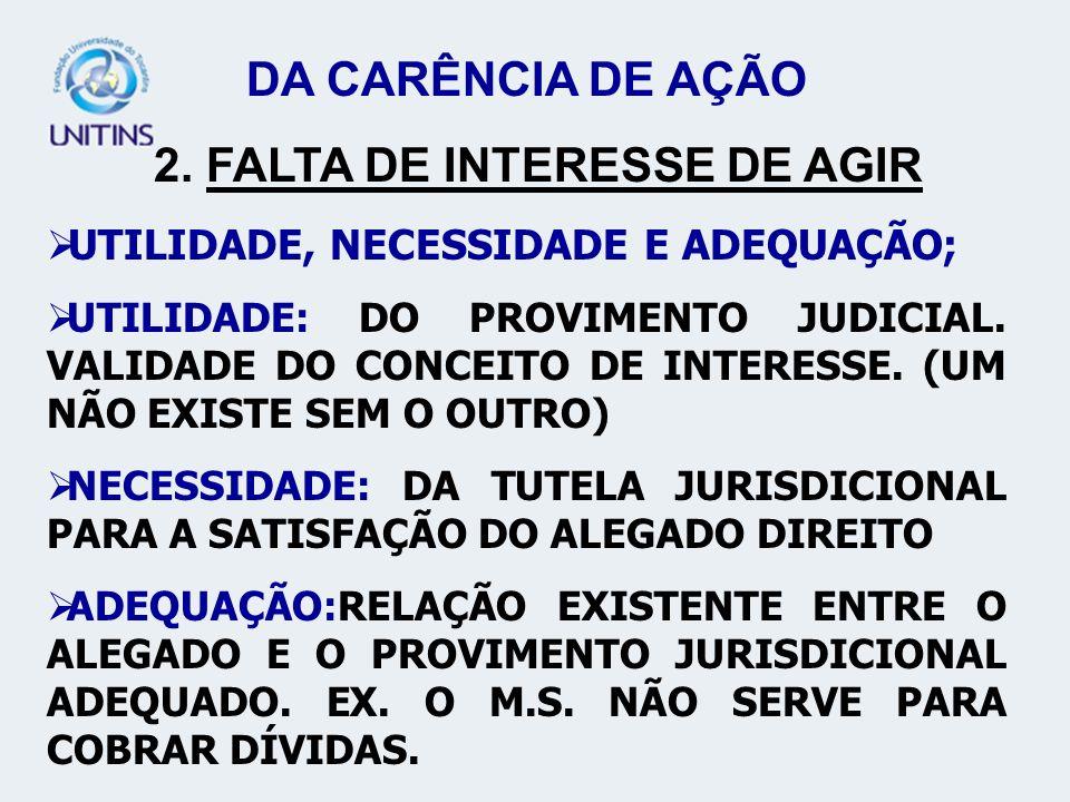 2. FALTA DE INTERESSE DE AGIR