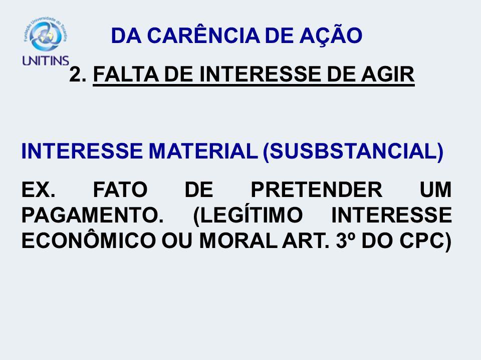 DA CARÊNCIA DE AÇÃO 2. FALTA DE INTERESSE DE AGIR. INTERESSE MATERIAL (SUSBSTANCIAL)