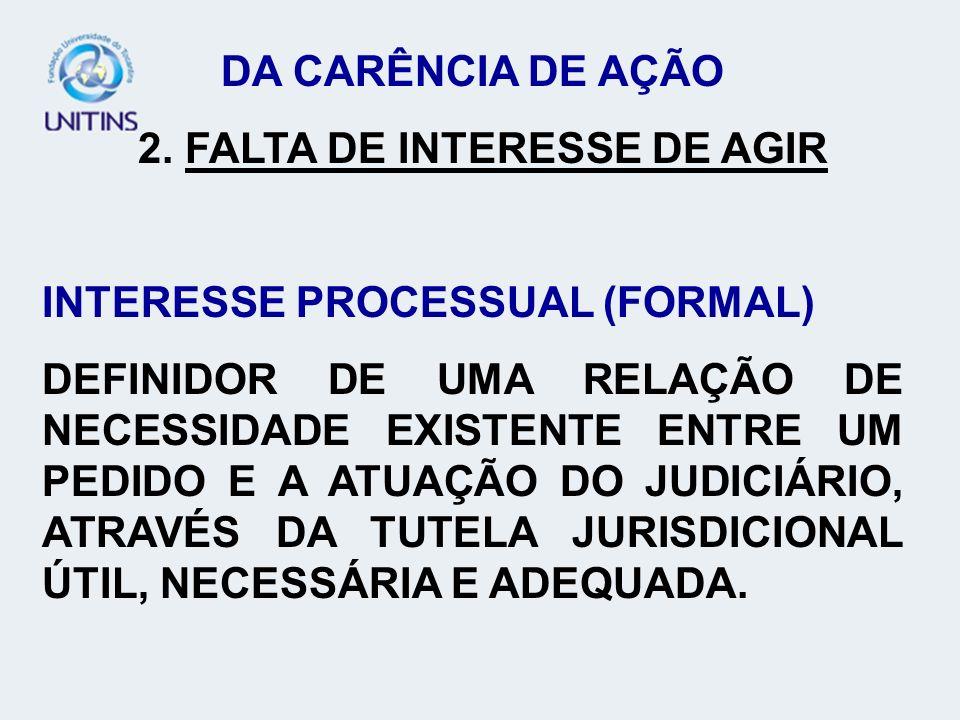 DA CARÊNCIA DE AÇÃO 2. FALTA DE INTERESSE DE AGIR. INTERESSE PROCESSUAL (FORMAL)
