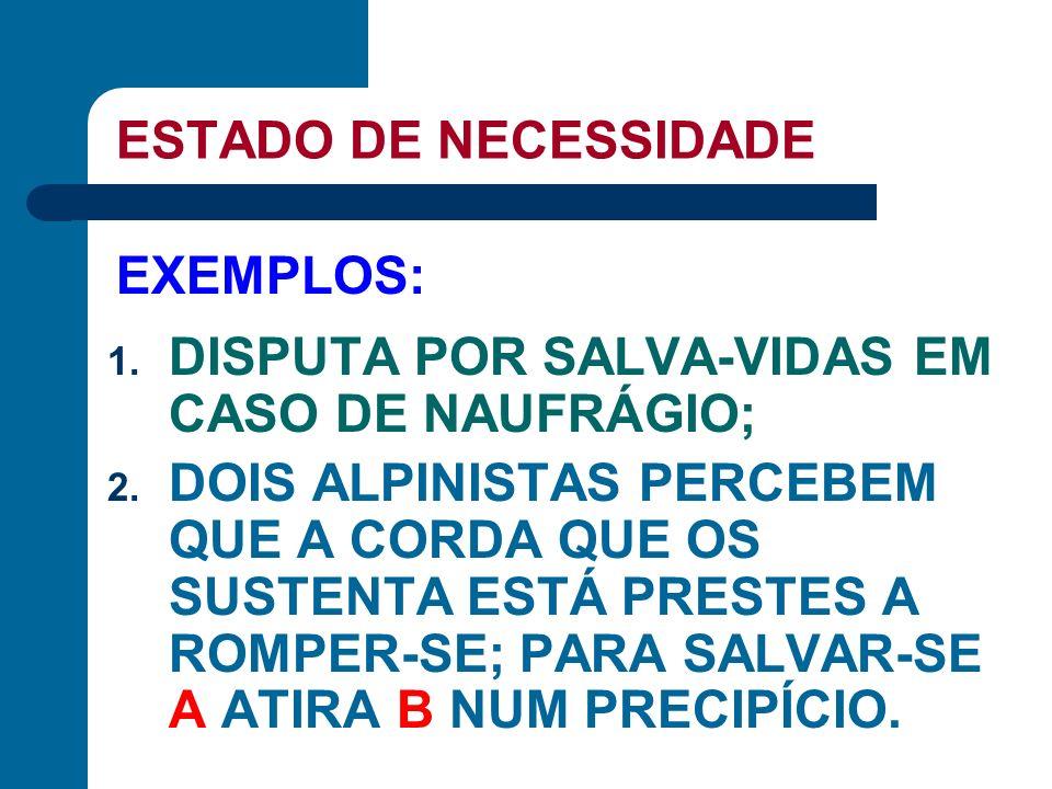 ESTADO DE NECESSIDADE EXEMPLOS: DISPUTA POR SALVA-VIDAS EM CASO DE NAUFRÁGIO;