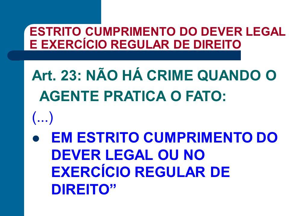 ESTRITO CUMPRIMENTO DO DEVER LEGAL E EXERCÍCIO REGULAR DE DIREITO