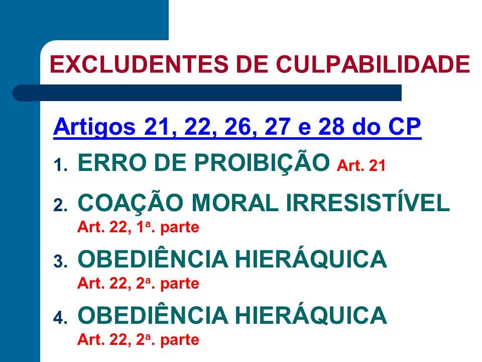 EXCLUDENTES DE CULPABILIDADE