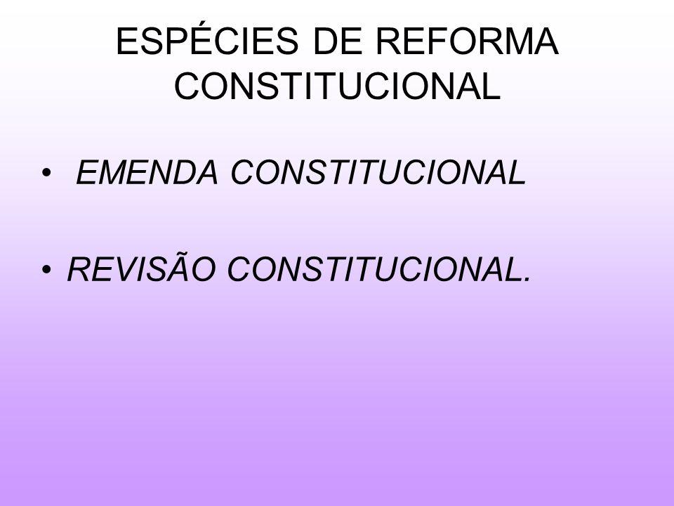ESPÉCIES DE REFORMA CONSTITUCIONAL