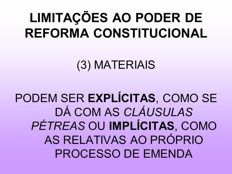 LIMITAÇÕES AO PODER DE REFORMA CONSTITUCIONAL