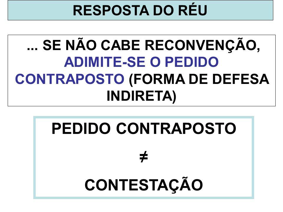 PEDIDO CONTRAPOSTO ≠ CONTESTAÇÃO