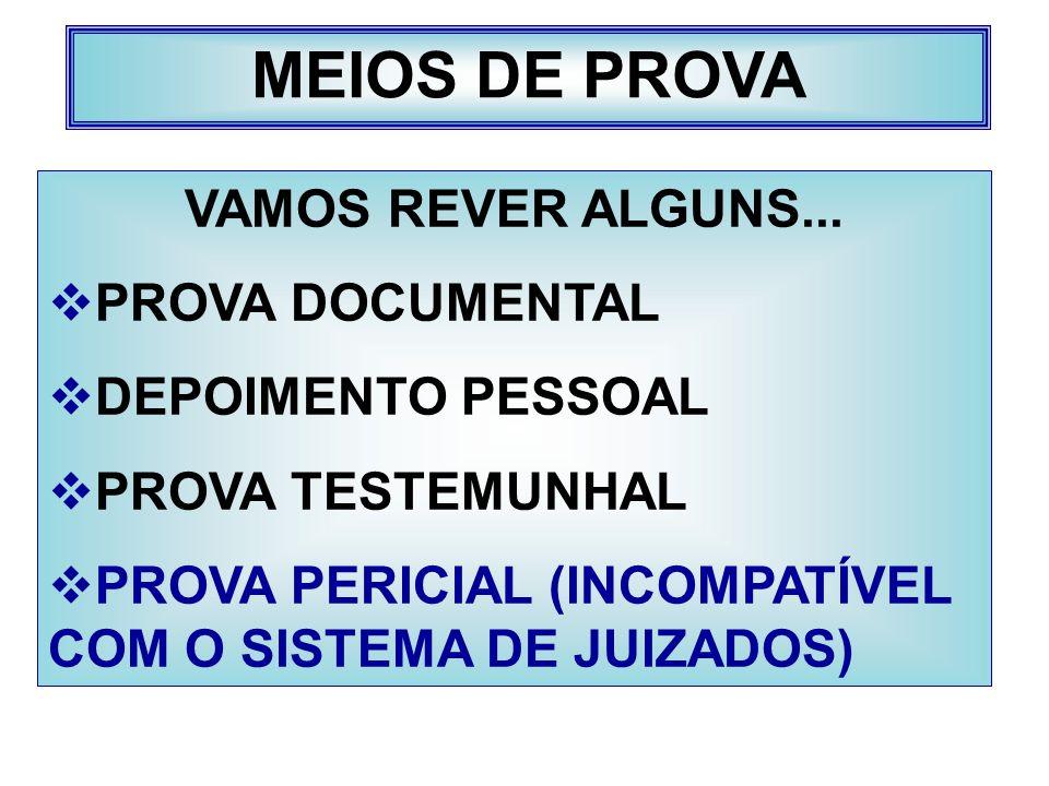 MEIOS DE PROVA VAMOS REVER ALGUNS... PROVA DOCUMENTAL