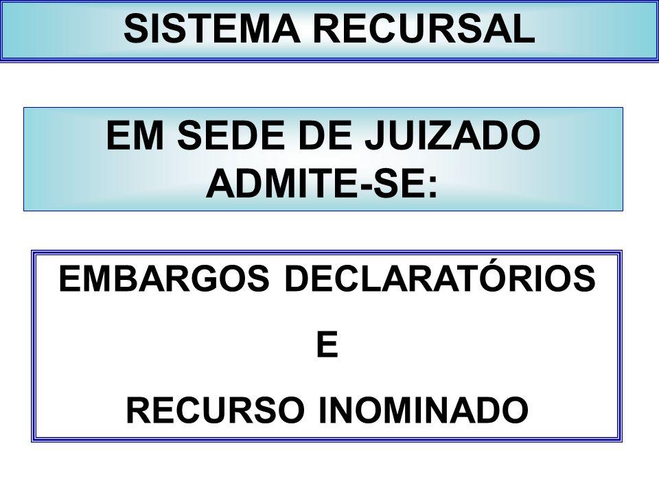 EM SEDE DE JUIZADO ADMITE-SE: EMBARGOS DECLARATÓRIOS
