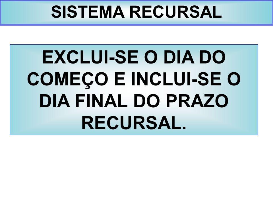 EXCLUI-SE O DIA DO COMEÇO E INCLUI-SE O DIA FINAL DO PRAZO RECURSAL.
