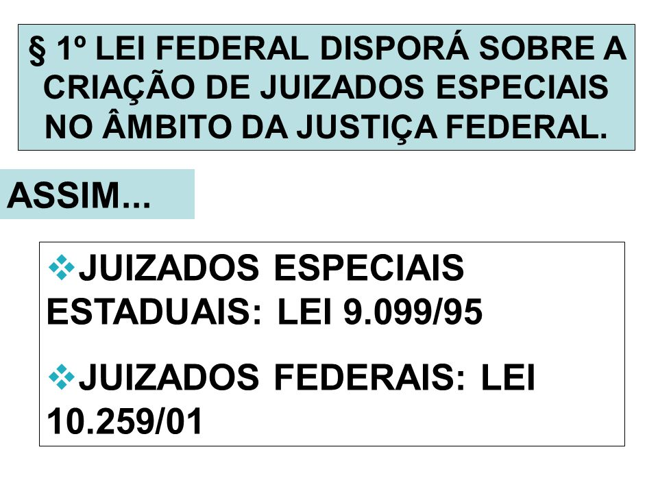 JUIZADOS ESPECIAIS ESTADUAIS: LEI 9.099/95
