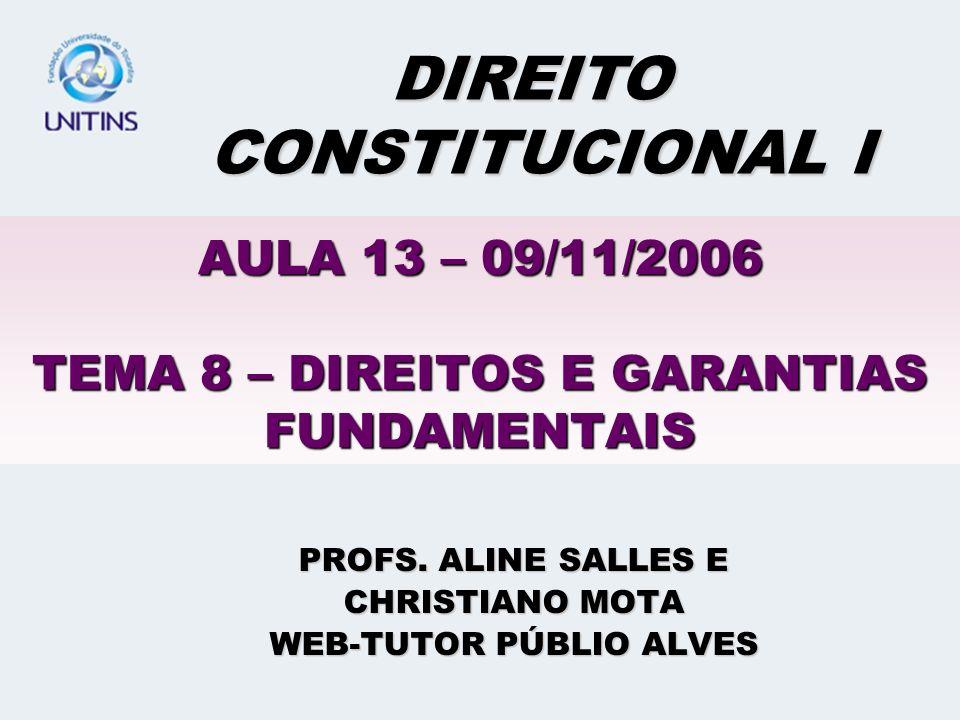 AULA 13 – 09/11/2006 TEMA 8 – DIREITOS E GARANTIAS FUNDAMENTAIS