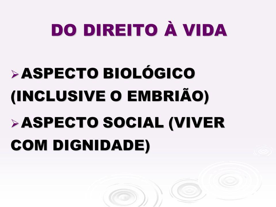 DO DIREITO À VIDA ASPECTO BIOLÓGICO (INCLUSIVE O EMBRIÃO)