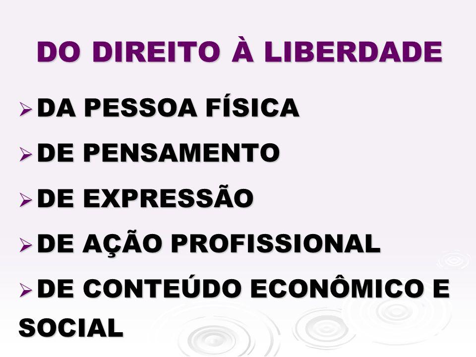 DO DIREITO À LIBERDADE DA PESSOA FÍSICA DE PENSAMENTO DE EXPRESSÃO
