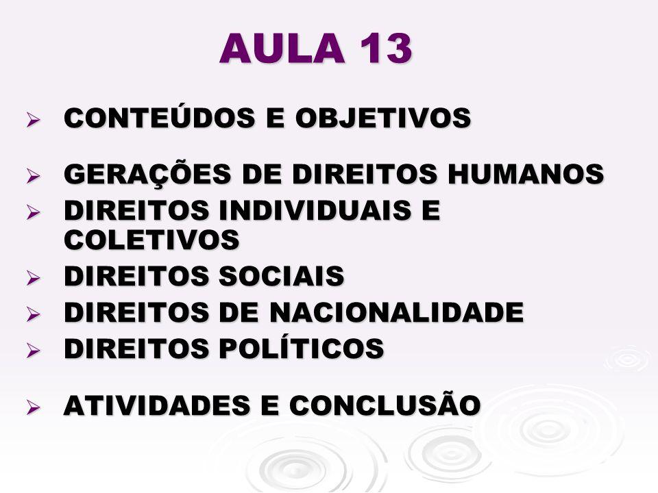 AULA 13 CONTEÚDOS E OBJETIVOS GERAÇÕES DE DIREITOS HUMANOS