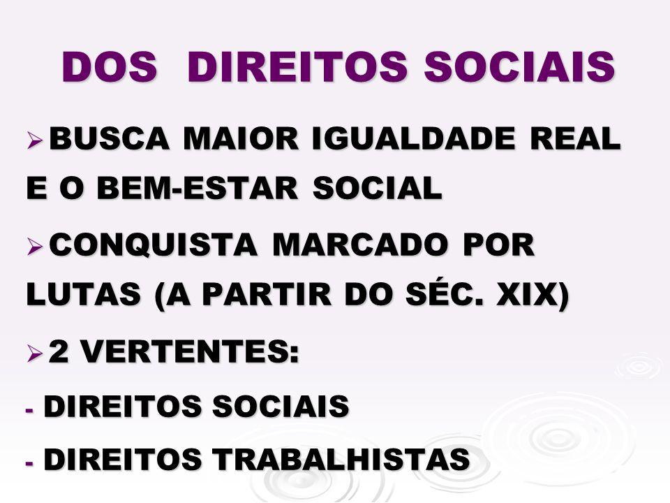 DOS DIREITOS SOCIAIS BUSCA MAIOR IGUALDADE REAL E O BEM-ESTAR SOCIAL