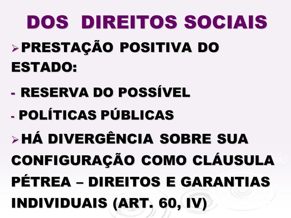 DOS DIREITOS SOCIAIS RESERVA DO POSSÍVEL PRESTAÇÃO POSITIVA DO ESTADO: