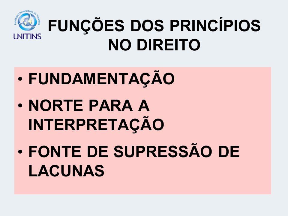 FUNÇÕES DOS PRINCÍPIOS NO DIREITO
