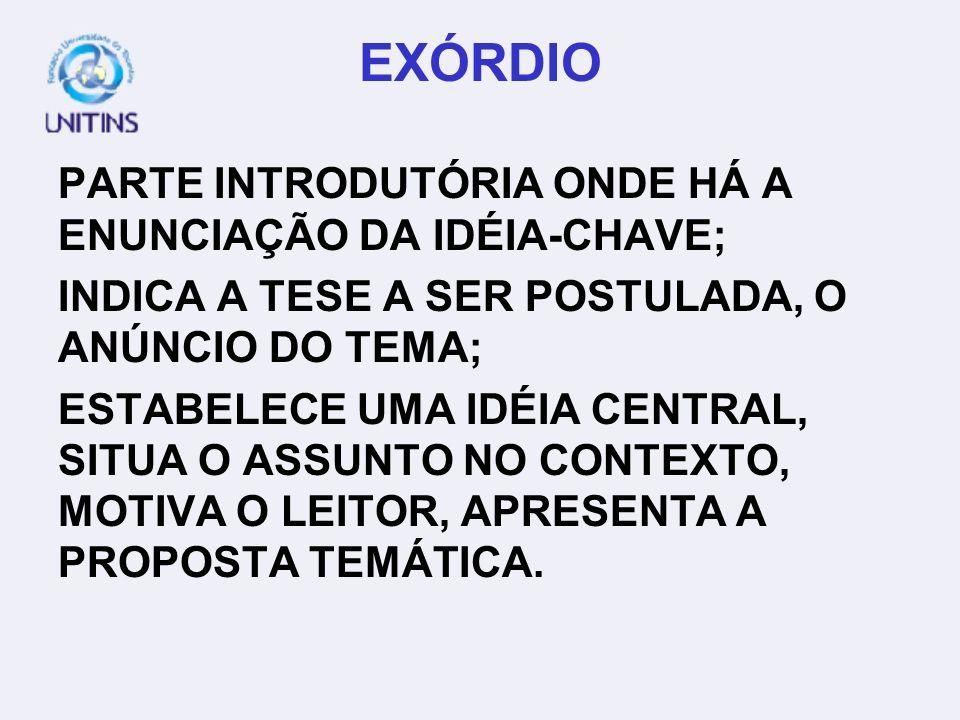 EXÓRDIO PARTE INTRODUTÓRIA ONDE HÁ A ENUNCIAÇÃO DA IDÉIA-CHAVE;