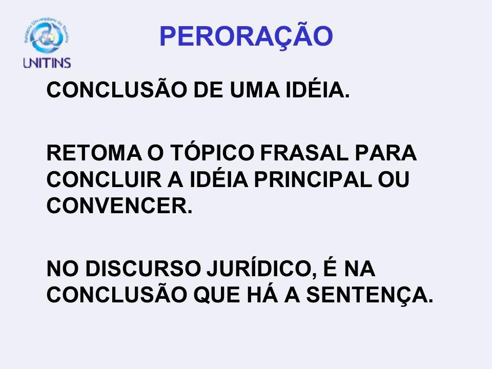 PERORAÇÃO CONCLUSÃO DE UMA IDÉIA.