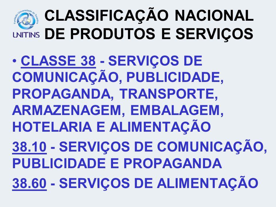 CLASSIFICAÇÃO NACIONAL DE PRODUTOS E SERVIÇOS