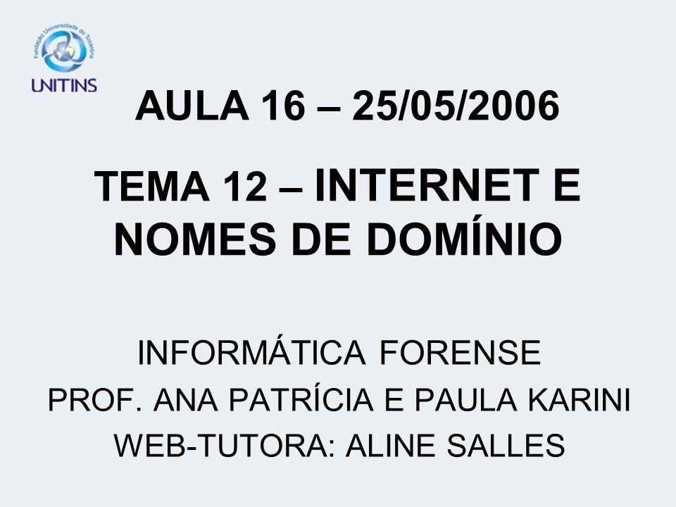 TEMA 12 – INTERNET E NOMES DE DOMÍNIO
