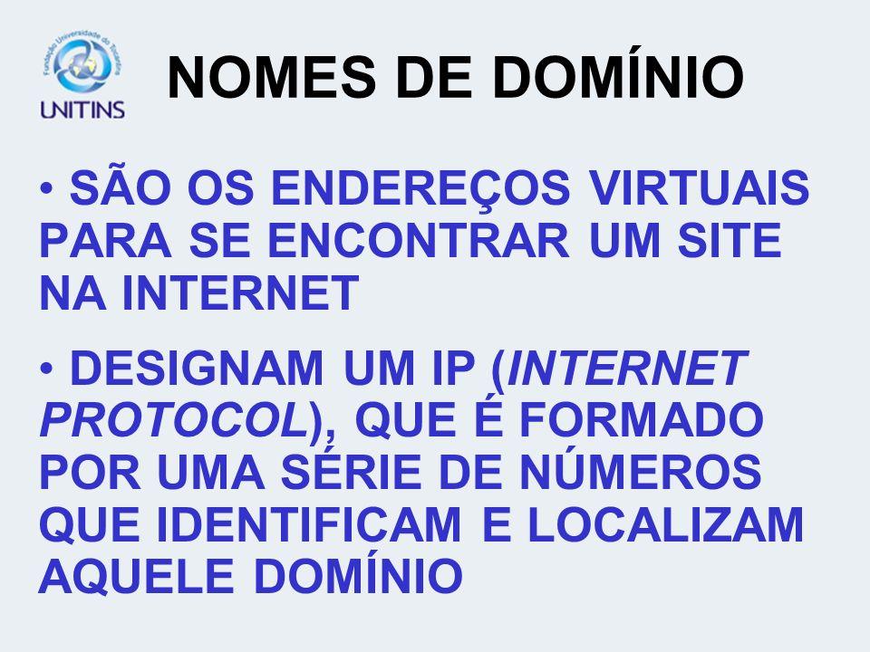NOMES DE DOMÍNIO SÃO OS ENDEREÇOS VIRTUAIS PARA SE ENCONTRAR UM SITE NA INTERNET.