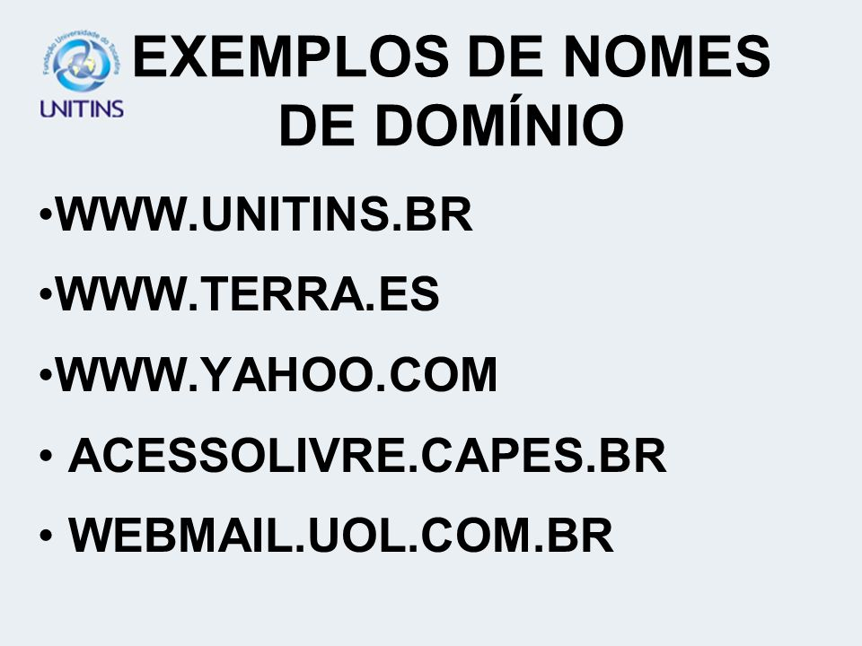 EXEMPLOS DE NOMES DE DOMÍNIO