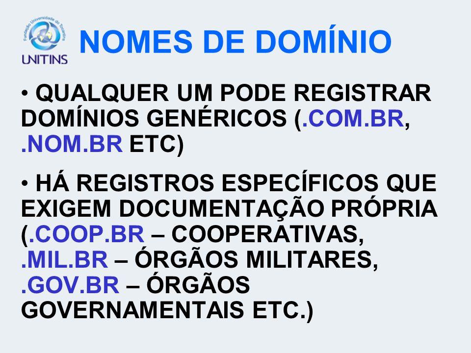 NOMES DE DOMÍNIOQUALQUER UM PODE REGISTRAR DOMÍNIOS GENÉRICOS (.COM.BR, .NOM.BR ETC)