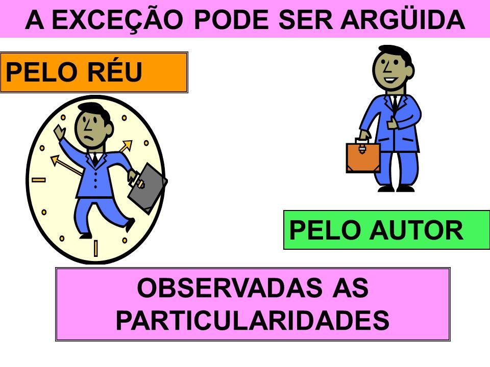 A EXCEÇÃO PODE SER ARGÜIDA OBSERVADAS AS PARTICULARIDADES