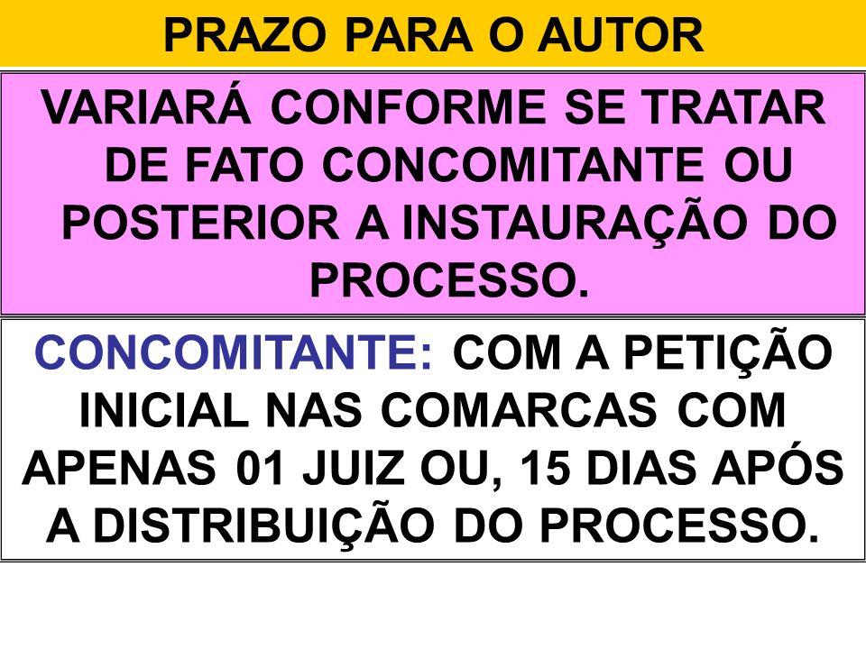 PRAZO PARA O AUTOR VARIARÁ CONFORME SE TRATAR DE FATO CONCOMITANTE OU POSTERIOR A INSTAURAÇÃO DO PROCESSO.