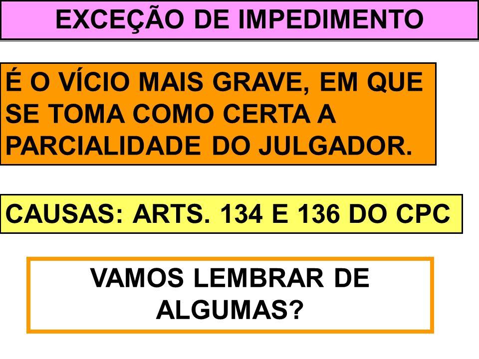 EXCEÇÃO DE IMPEDIMENTO VAMOS LEMBRAR DE ALGUMAS