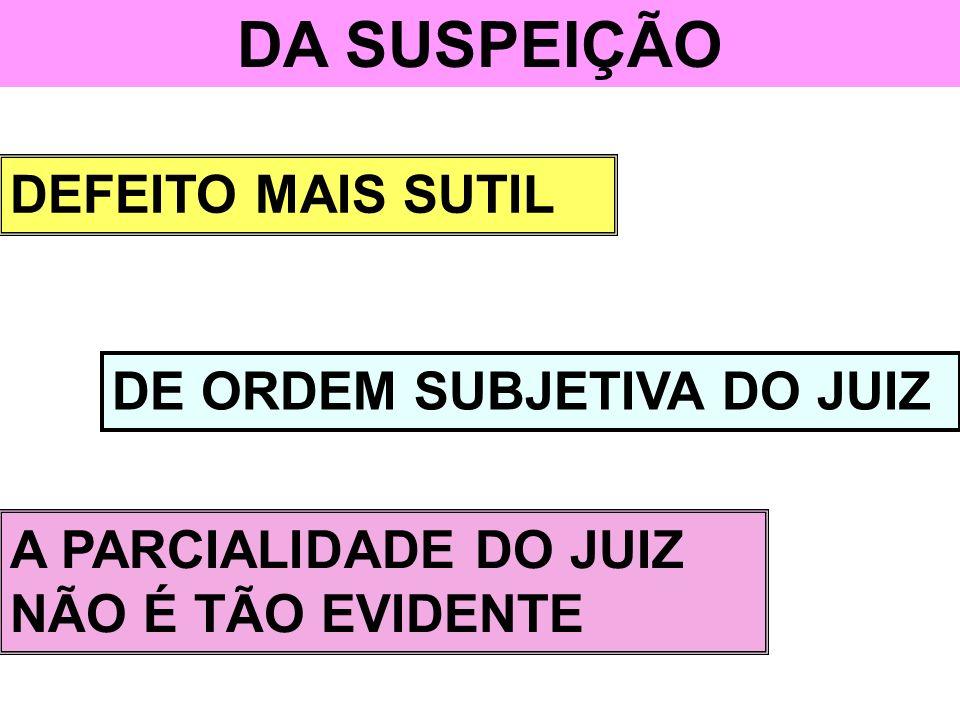 DA SUSPEIÇÃO DEFEITO MAIS SUTIL DE ORDEM SUBJETIVA DO JUIZ