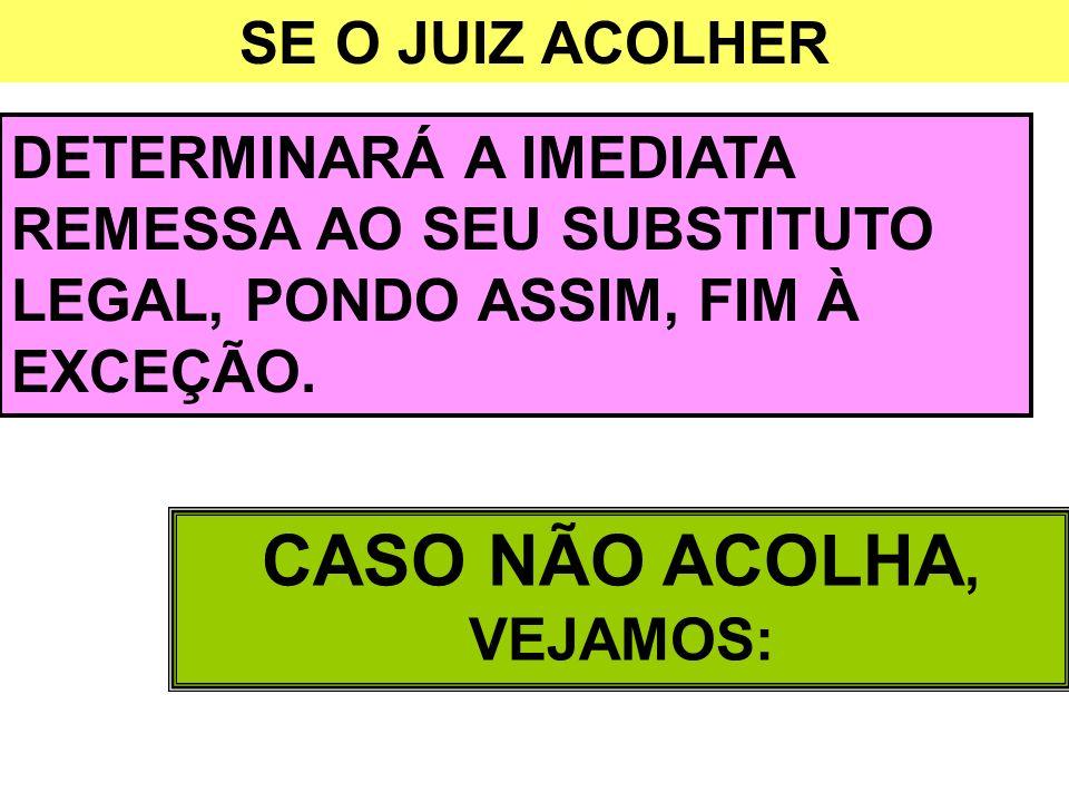 CASO NÃO ACOLHA, VEJAMOS: