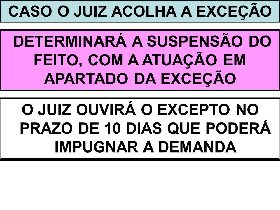 CASO O JUIZ ACOLHA A EXCEÇÃO