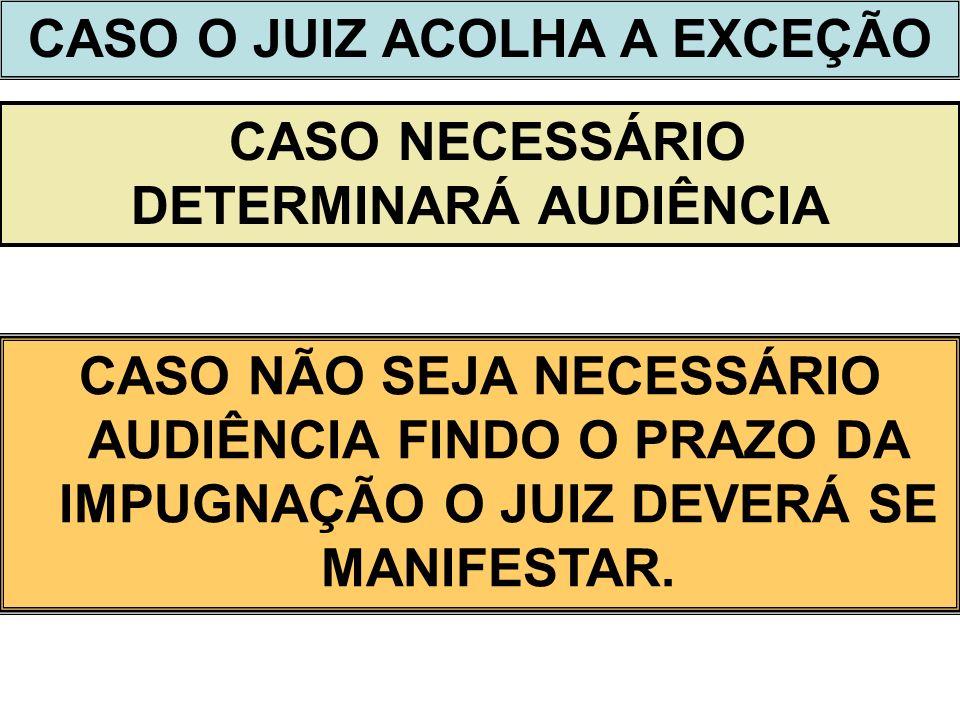 CASO O JUIZ ACOLHA A EXCEÇÃO CASO NECESSÁRIO DETERMINARÁ AUDIÊNCIA