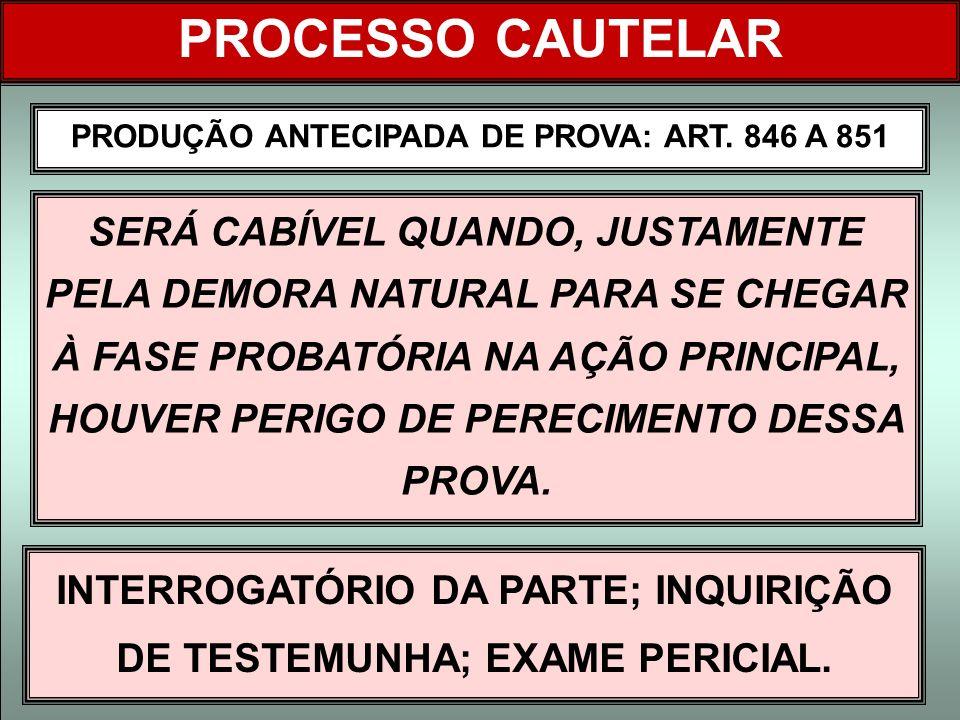 PROCESSO CAUTELAR PRODUÇÃO ANTECIPADA DE PROVA: ART. 846 A 851.