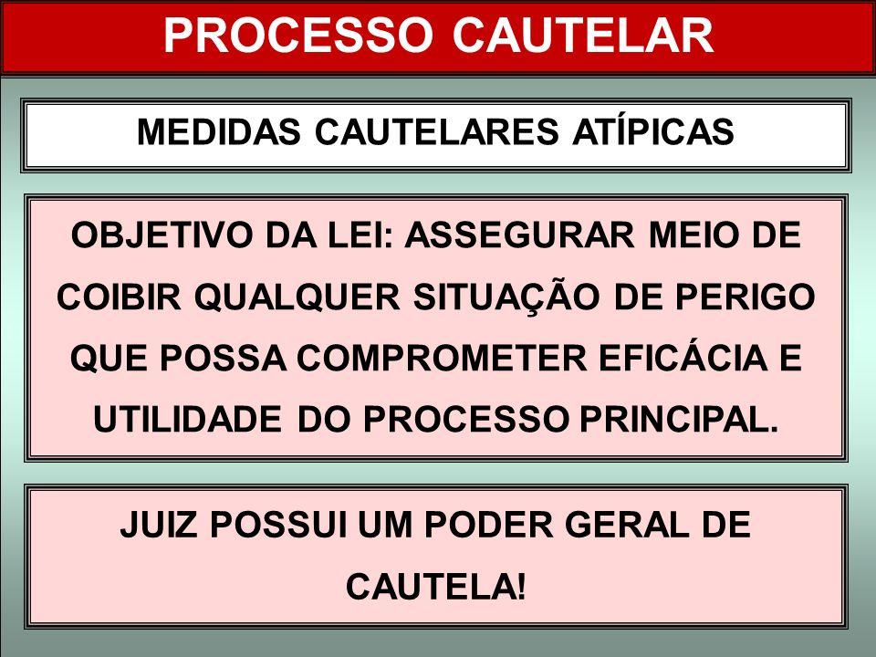 MEDIDAS CAUTELARES ATÍPICAS JUIZ POSSUI UM PODER GERAL DE CAUTELA!