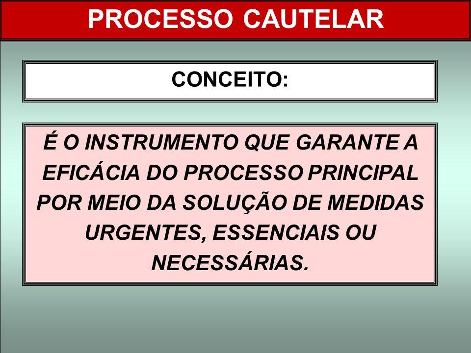 PROCESSO CAUTELAR CONCEITO: