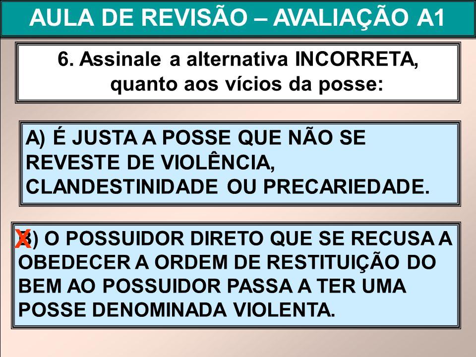 X AULA DE REVISÃO – AVALIAÇÃO A1