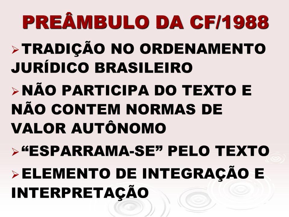 PREÂMBULO DA CF/1988 TRADIÇÃO NO ORDENAMENTO JURÍDICO BRASILEIRO