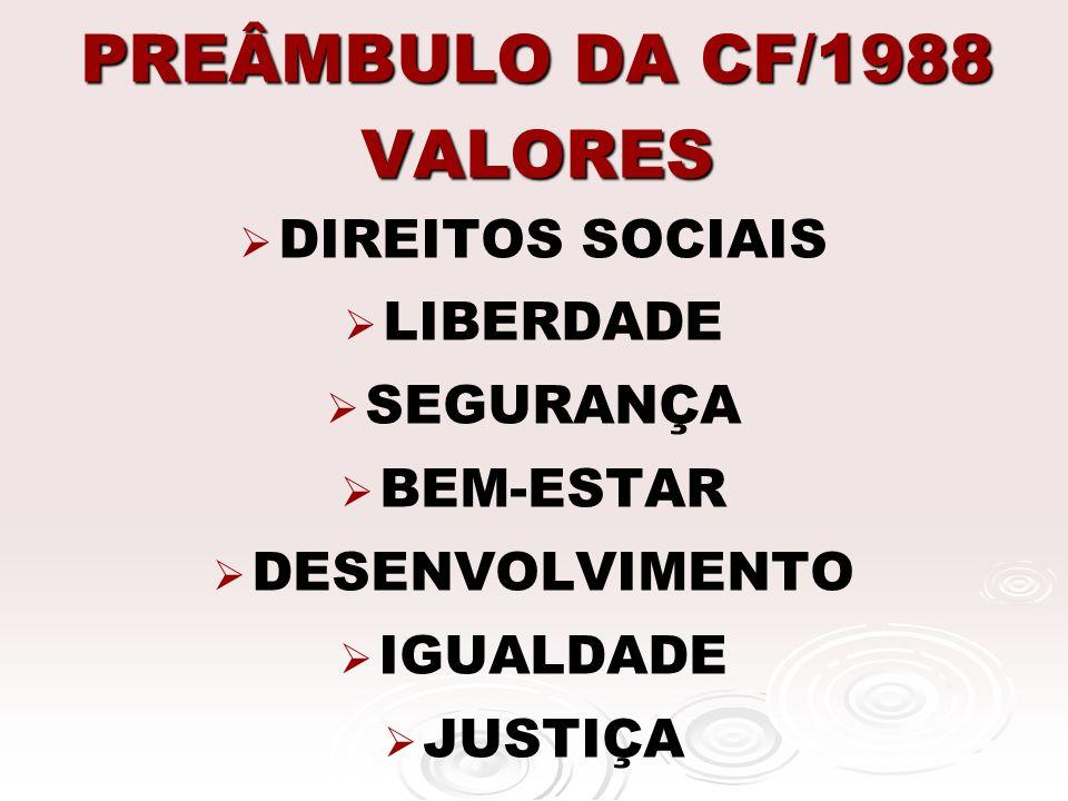 PREÂMBULO DA CF/1988 VALORES