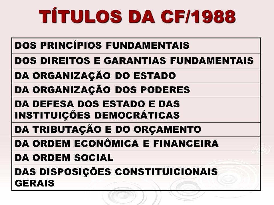 TÍTULOS DA CF/1988 DOS PRINCÍPIOS FUNDAMENTAIS