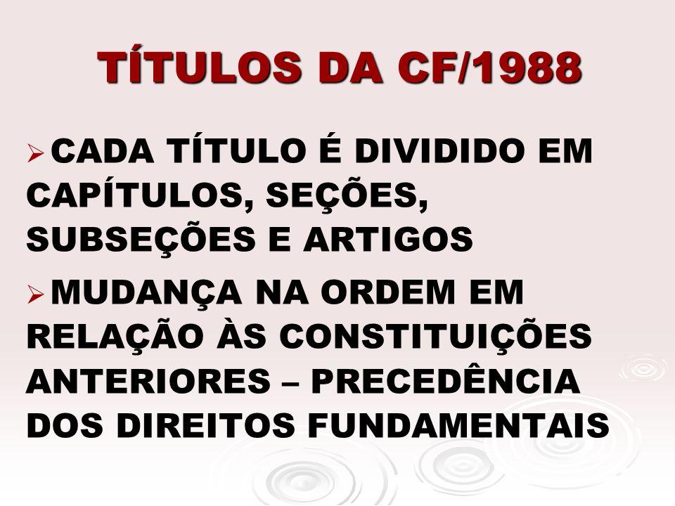 TÍTULOS DA CF/1988 CADA TÍTULO É DIVIDIDO EM CAPÍTULOS, SEÇÕES, SUBSEÇÕES E ARTIGOS.