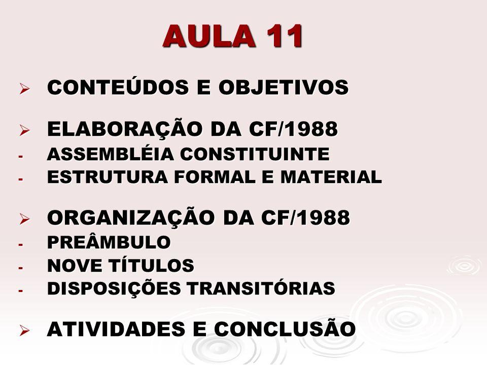 AULA 11 CONTEÚDOS E OBJETIVOS ELABORAÇÃO DA CF/1988