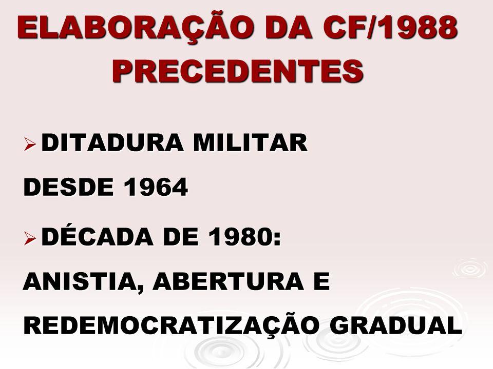 ELABORAÇÃO DA CF/1988 PRECEDENTES