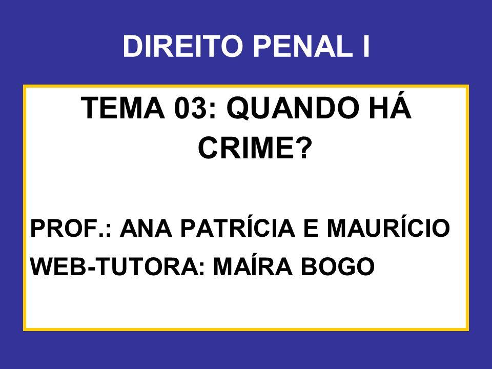 DIREITO PENAL I TEMA 03: QUANDO HÁ CRIME
