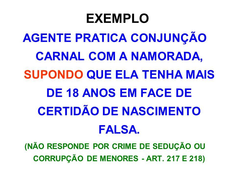 EXEMPLO AGENTE PRATICA CONJUNÇÃO CARNAL COM A NAMORADA, SUPONDO QUE ELA TENHA MAIS DE 18 ANOS EM FACE DE CERTIDÃO DE NASCIMENTO FALSA.