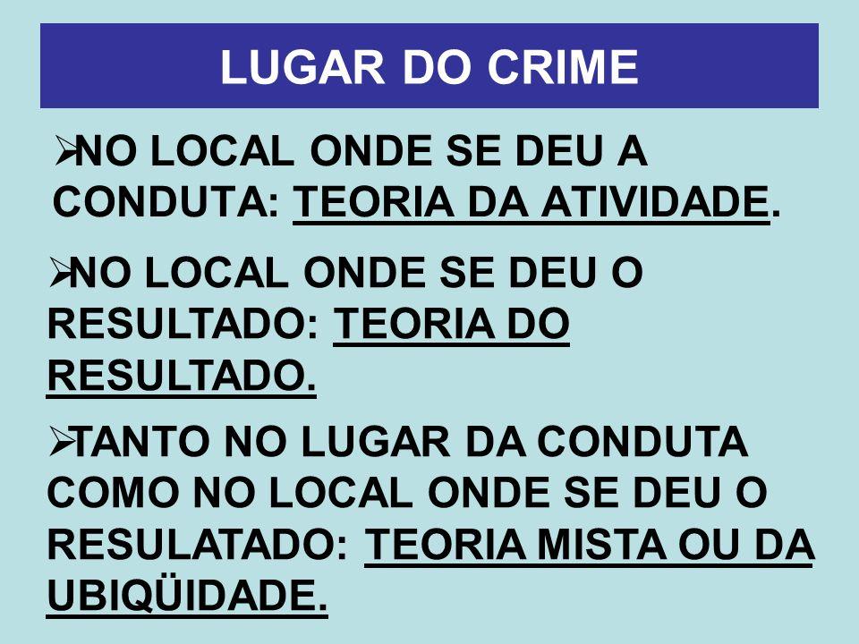 LUGAR DO CRIME NO LOCAL ONDE SE DEU A CONDUTA: TEORIA DA ATIVIDADE.