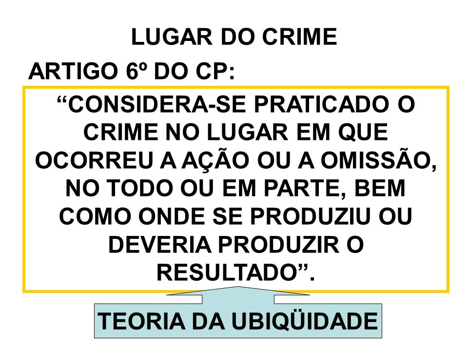 LUGAR DO CRIME ARTIGO 6º DO CP: