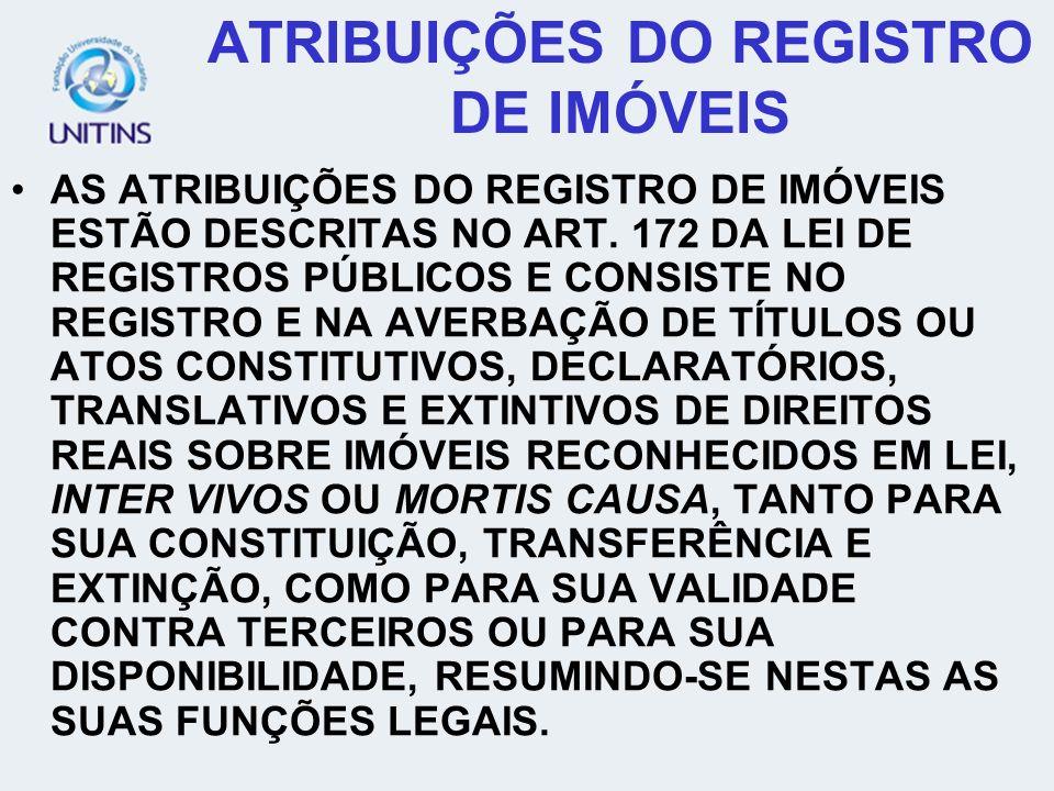 ATRIBUIÇÕES DO REGISTRO DE IMÓVEIS
